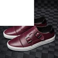 男鞋青年皮鞋韩版休闲鞋低帮圆头搭扣透气板鞋时尚学生潮鞋舒适百搭单鞋