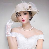 防晒可折叠遮阳帽欧式帽子复古礼帽网纱帽子女士渔夫帽