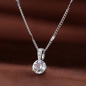 Swarovski/施华洛世奇正品时尚女士圆形单颗水晶银色项链1800045