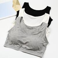 运动内衣女士夏季薄款背心式无钢圈文胸bra学生抹胸裹胸少女内衣 黑色 宽肩带