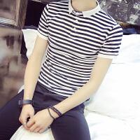 港风小码短袖POLO衫小清新T恤男XS码潮衬衫领修身翻领条纹半袖