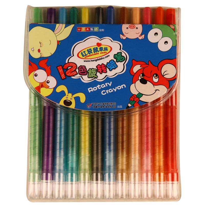 红袋鼠家族 12色旋转蜡笔 【当当自营】学生用品 儿童文具 绘本绘画用蜡笔