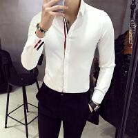 秋季新款条纹衬衫男长袖修身韩版潮流帅气发型师寸衫休闲白色衬衣