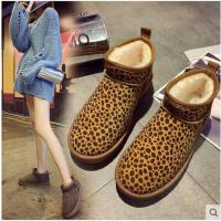 雪地靴女冬季新款韩版豹纹短筒防水加绒百搭平底防滑加厚棉鞋