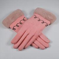 户外运动手套加绒女士手套双层加厚仿麂皮绒休闲保暖触屏手套