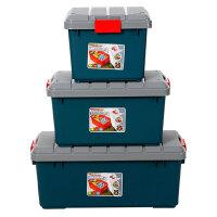 收纳箱塑料整理盒有盖玩具筐特大号衣服被子透明周转储物箱子零食储物箱塑料有盖化妆品收纳盒 62*37*34cm蓝色