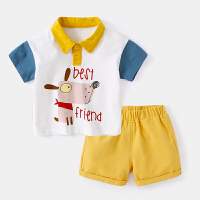 宝宝套装夏季女婴幼儿短袖polo衫上衣夏装短裤男婴儿两件套薄