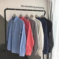 春季潮流衬衫男日系青年色休闲宽松长袖衬衣男学生外穿上衣