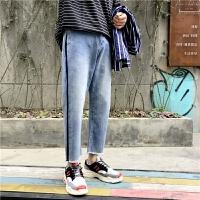 韩版牛仔裤男宽松韩版水洗条纹原宿风九分毛边裤