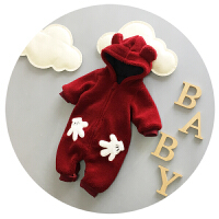 婴儿连体衣加厚男宝宝冬季衣服新生儿哈衣3-6-9个月外出服春秋潮