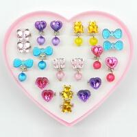 儿童戒指儿童耳环女孩儿童宝石戒指钻石戒指耳环耳夹女童首饰套装