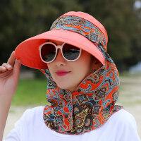 户外折叠沙滩太阳帽女 新款遮阳帽女防晒帽骑车大檐帽子 女士大沿遮脸护脖帽子