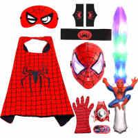 万圣节儿童服装蜘蛛侠披风衣服男孩手套发射器盾牌面具玩具套装