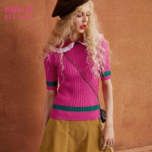 妖精的口袋闺中私语秋冬装新款短袖修身蕾丝翻领短款毛衣女