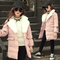 童装中大女童冬装棉衣外套中长款洋气长裤子两件套装
