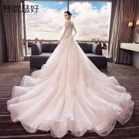 婚纱长袖2018新款长拖尾欧美大码冬季一字肩公主显瘦新娘结婚礼服