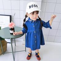 2018春款女童连衣裙儿童牛仔上衣裙宝宝修身韩版外套裙子春装小童