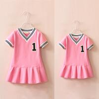 亲子装 自留款2016夏季新款女童运动连衣裙 韩版纯棉短袖网球裙衫