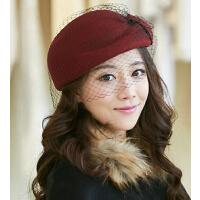 贝雷帽羊毛毡帽冬天英伦毛呢帽小礼帽空姐帽女秋冬时尚