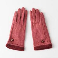 韩版五指触屏羊毛绒手套女秋冬保暖拼色显瘦羊毛手套女冬