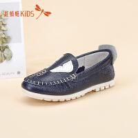 红蜻蜓秋季舒适牛皮套脚休闲童鞋511X6D1F41