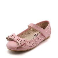 SHOEBOX/鞋柜 新款时尚复古蝴蝶结女童鞋 纯色镂空公主鞋女童单鞋