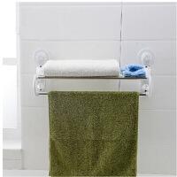 双庆吸盘式浴室毛巾架双层毛巾杆浴巾架卫生间吸壁挂架置物架