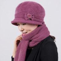 绒绒兔毛蝴蝶结女士帽子毛线帽 加厚针织帽保暖老人帽 新款加绒妈妈帽子围巾