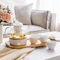 奇居良品 ins风茶暖壶泡茶壶高硼硅玻璃陶瓷下午茶茶壶茶杯套装