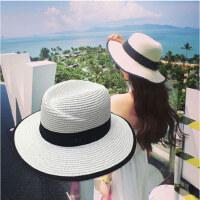 可折叠防晒沙滩帽 女士英伦包边草帽子 新款遮阳帽M字宽檐礼帽出游太阳帽