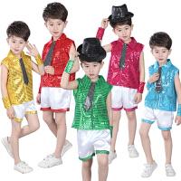 六一儿童爵士舞演出服男童街舞套装幼儿亮片表演服环保服装时装秀
