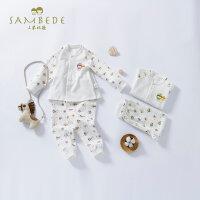 三木比迪宝宝套装纯棉春秋婴幼儿长袖保暖分体睡衣小童长袖打底秋