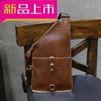胸包男休闲包包大容量单肩包潮运动背包简约韩版斜挎包皮 咖啡色