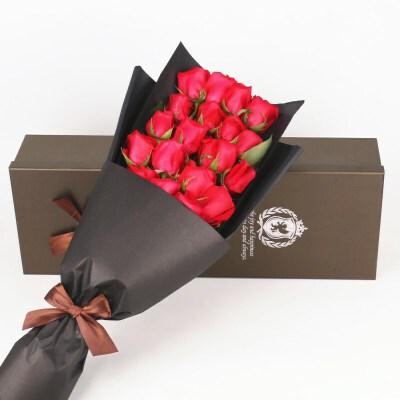 鲜花速递19支玫瑰礼盒鲜花送爱人闺蜜礼品 鲜花 节日生日鲜花全国同城鲜花速递刻骨的爱   不变的承诺
