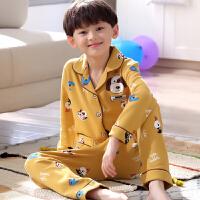 男童睡衣秋季薄款中儿童小男孩空调服中大童家居服男长袖套装纯棉