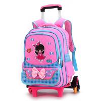 儿童拉杆书包女孩6-12周岁小学生拖书包三轮可拆卸推拉书包带轮子 六轮爬楼梯粉色8810# 2-6年级