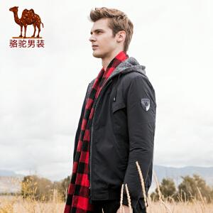 骆驼男装 秋冬新款可拆假两件短款棉袄纯色夹棉加厚棉衣男士