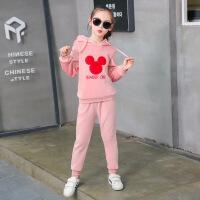 乌龟先森 儿童卫衣套装 女童冬季新款韩版学生金丝绒英文织带休闲运动套中大童时尚上衣+长裤子两件套童装