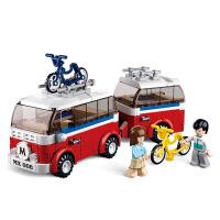 【当当自营】小鲁班模拟城市系列儿童益智拼装积木玩具 班亚&乐美的露营车M38-B0566