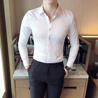 秋款免烫商务衬衫男长袖修身韩版英伦衬衣潮流白衬衫夜店青年男装