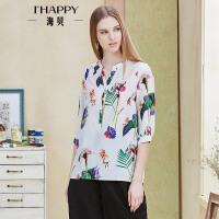 【2件5折】海贝年春季新款女 时尚小V领白底印花七分袖衬衫