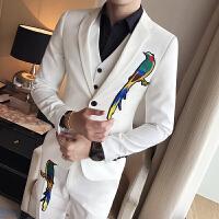 秋季新款个性小西装男绅士韩版男士长袖西服发型师夜店两件套装潮