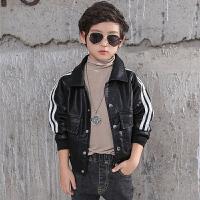 男童皮衣童装外套儿童条纹开衫男孩中大童上衣韩版秋装潮