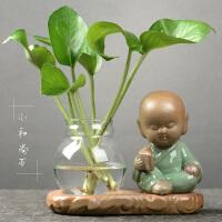 客厅装饰品水养插花器皿摆件创意绿萝水培植物透明玻璃小花瓶家用