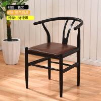 太师椅休闲简约靠背椅子现代家用餐椅洽淡凳子北欧风铁艺桌椅组合