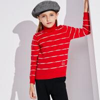 【2件3折到手价:87.6】小猪班纳童装女童条纹毛衣2019冬季新款儿童高领针织衫甜美时尚潮