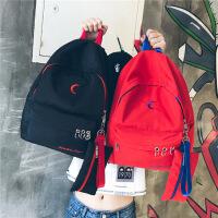 韩版简约撞色飘带双肩包初中高中校园学生书包女森系休闲旅行背包