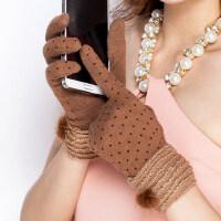 女保暖羊毛手套女冬季开车控碰短款显瘦 触摸屏羊绒手套