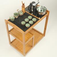 茶道桌喝茶桌椅小茶几迷你茶桌茶几带全自动茶具移动茶车茶台竹制茶盘家用简约自动上水电磁炉茶具套装阳台小 +电+茶具2