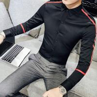 2018春季潮流男士韩版修身织带长袖衬衫发型师时尚薄款夜店衬衣潮